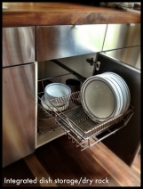 Dish drying rack built into IKEA cabinets